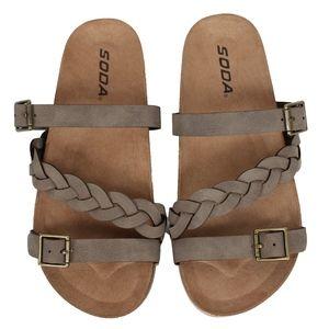 Other - GIRLS Taupe Buckle Strap Platform Slip On Sandal